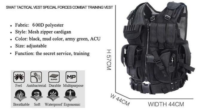 Gilet tactique police /arme/swat – Noir Equipements