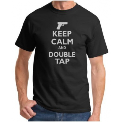 Tee-shirt Keep Calm and Double Tap - Black & Gray - BlackOpe