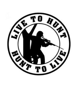 Stickers rond live to hunt – Noir Divers